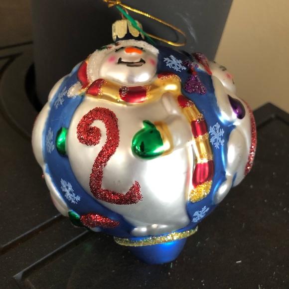Blown Glass, Hand-Decorated 2000 Snowmen Ornament